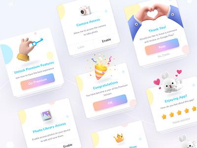 Dialogs, Pop Ups Fotis premium access rate cartoon 3d popup dialog app design ux ui