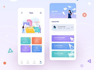 PDF Reader App file reader interface home ios app illustraion color office document mobile app tool edit pdf design ux ui
