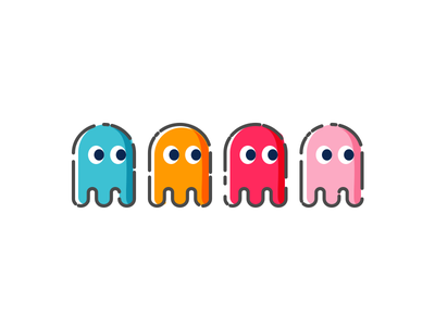 Blinky, Inky, Pinky and Clyde vector art vector illustration icon flat design vector pac man