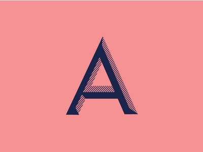 'A' icon logo type blue pink futura typography a