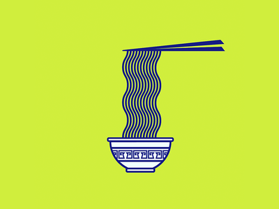 Noodle Lyfe icon food lines blue green vector ramen noodles