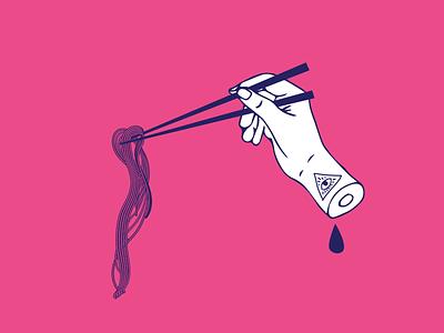 Ramen or Death asian tattoo illuminati pink blue noodles hand ramen