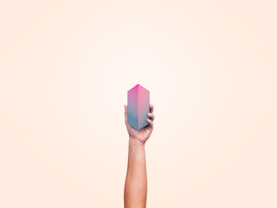 Solitude hand photoshop collage vector blue pink gradient rectangle cube