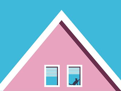 Mundane Pleasures modern clean home house vector blue pink cat
