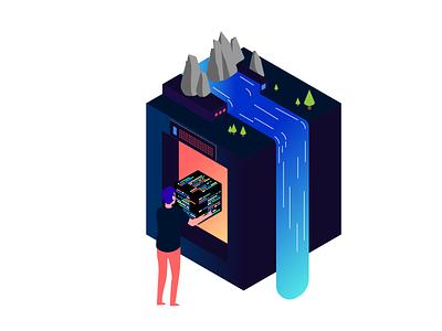 Microclimate Illustration gradient isometric climate design nature vector illustration illustration vector