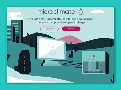 Microclimate Landing Page Concept landing page concept website web deisgn ui  ux ui illustration green vector animation landing page