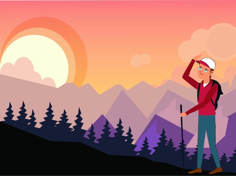 Travel Towards a new destination mountain uiux illustraion app travel