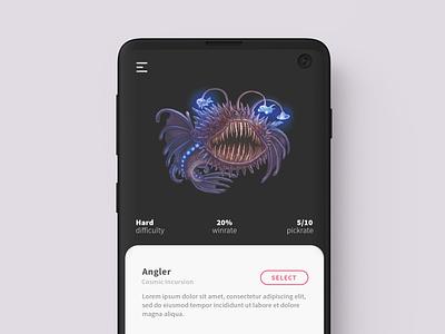 Cosmic Encounter app webdesign ui