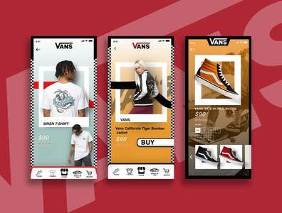 VANS Redesign Project clothing application app design shopping app uiuxdesigner graphics graphicdesign adobephotoshop adobecc adobexd ui  ux uxdesign uiux ui app