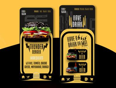 1FOOD IN BLACK! application beer xd design xd adobephotoshop adobexd adobecc adobe xd graphicdesigner graphic foodapp app uidesigner uxdesigner ui design ui  ux ux ui food app food