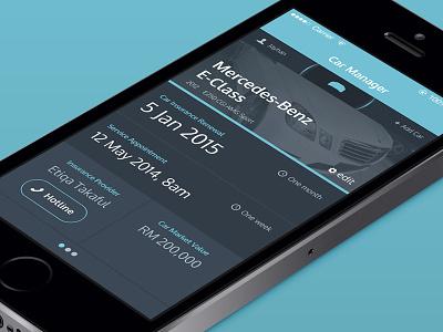 Car Manager interface ui iphone dark teal