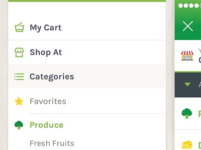 App Menu Drawer ios ui app green fresh shopping