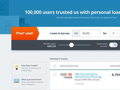Personal Loan Calculator ui finance blue web design calculator
