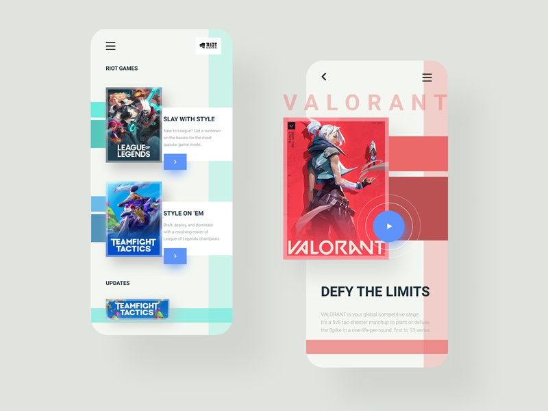 Riots Games Mobile App gameshow riot games teamfight tactics league of legends valorant design ux mobile app concept design app mobile uiux ui