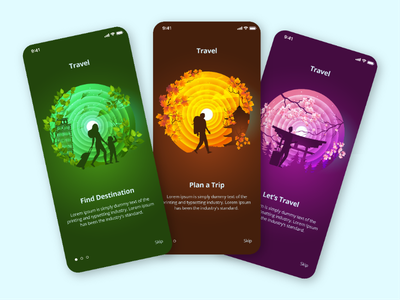 Travel App Onboarding autumn sakura leafs travel app concept design app design destination trip green purple pink orange ux ui onboarding illustration mobile app mobile travel