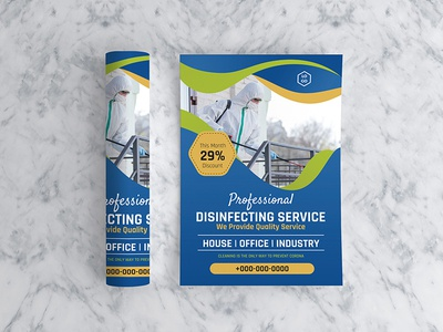 Disinfecting service flyer creative poster blank concept vertical design brochure stylish layout washing sketch advertising flyer background template vector banner print service illustration
