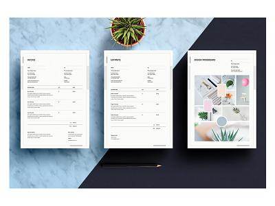 Mood Board   Invoice   Estimate Templates printable clean creative minimal templates estimate invoice mood board design mood