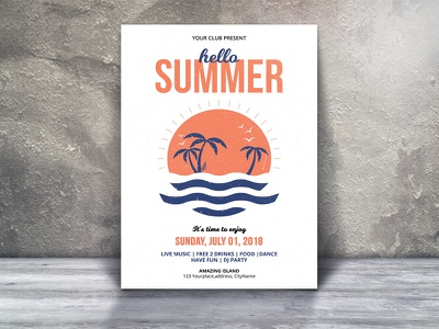Summer Party Flyer summer party summer psd template psd flyer printable flyer party flyer minimal flyer editable dj party creative clean flyer a4 flyer