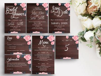 Rustic Wooden Wedding Template Suite