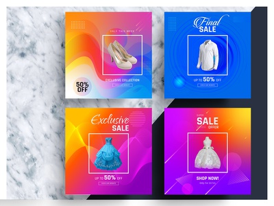 Colorful Social Media Banner elegent exclusive new collection new arrival discount banner sell cloth illustrator ai colorful fashion sale banner liquid banner social media adsvector advertisement social banner banner social media media social