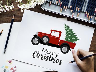 Christmas Truck & Tree Illustration