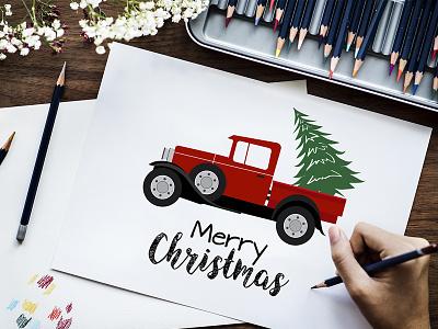 Christmas Truck & Tree Illustration ai illustraion illustrator eps vector merry christmas pickup van christmas truck christmas tree tree truck christmas printable minimal creative editable