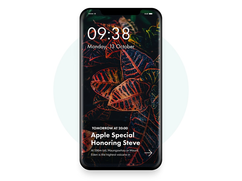 iPhone X -   iOS 11 Lock  Screen minimal app application layout iphone design mobile ios 11 ux ui apple