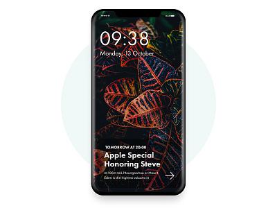 iPhone X -   iOS 11 Lock  Screen minimal app application layout iphone design mobile ios 11 ux ui apple