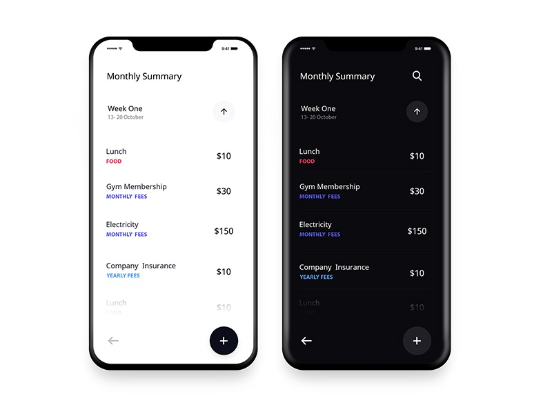 Expense Tracker App UI Design simple banking ui ios wallet mobile app money finance expense card bank