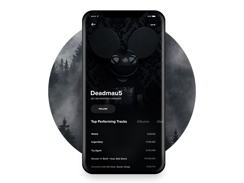 User Profile - Music Player App UI Concept clean minimal ios11 iphonex ux ui music player interaction design concept app design app