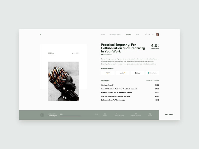 Audibook Inner Page - UI Concept clean ecommerce web design landing pallete ui ux responsive marketing website product minimal