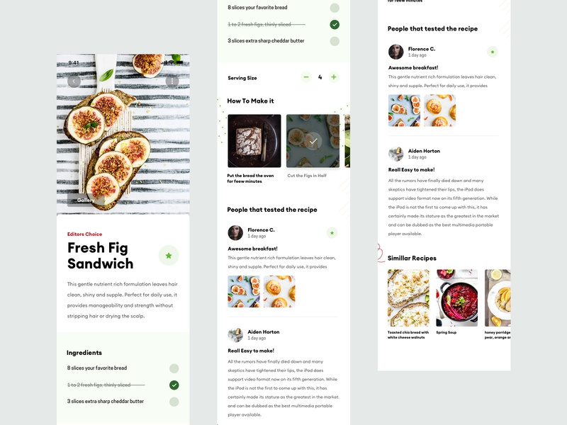 ZX Explorations - Recipe App UI Concept ios application app ui ux clean responsive minimal landing typography design marketing header interface simple fresh product pallete page data