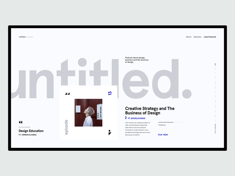 Untitled Podcast - Landing Page UI concept design interface podcast cover podcast minimal product website marketing responsive ux ui pallete landing web design ecommerce clean