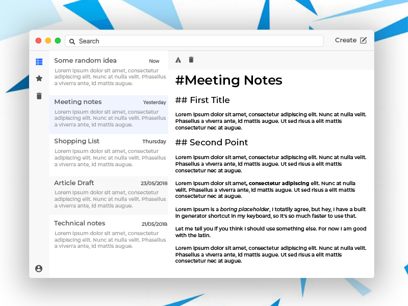 Cloud Rapidity - A note taking app electron mac notes office ui desktop app