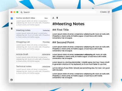 Cloud Rapidity - A note taking app electron mac notes office ui desktop app