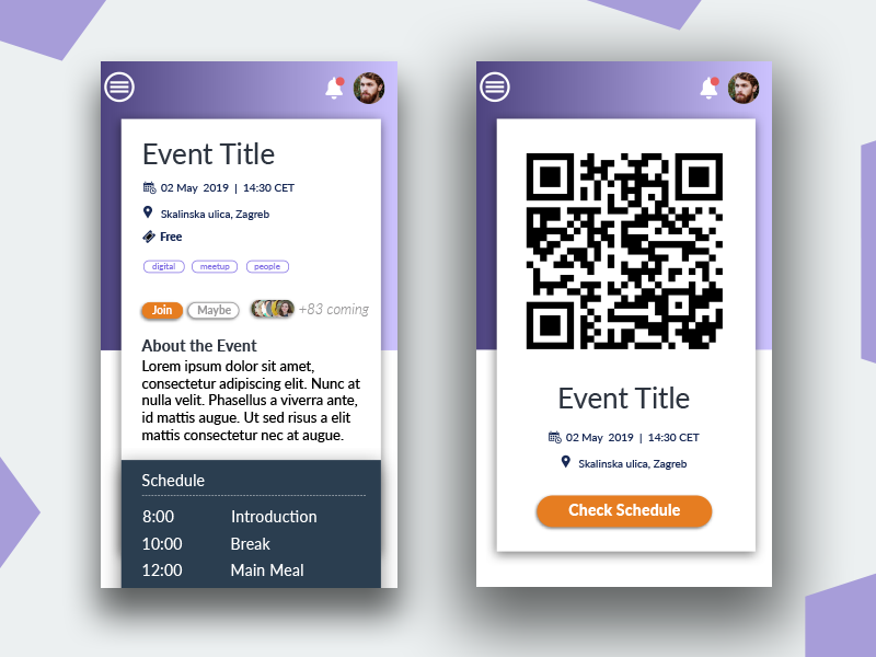 Event Booking app design interface qr code geolocalisation react native material design event booking mobile app ui