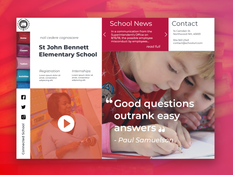 School Website back 2 school front end design sketch webdesign branding school website uidesign