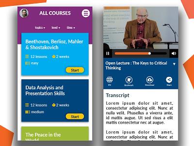 elearning mobile app for online university streaming university course app mobile app design mobile ui elearning design app ui