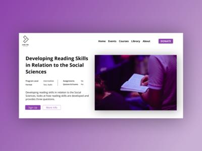 Course card - Online learning platform edtech violet purple browser web design online learning university webdesign website design elearning ui