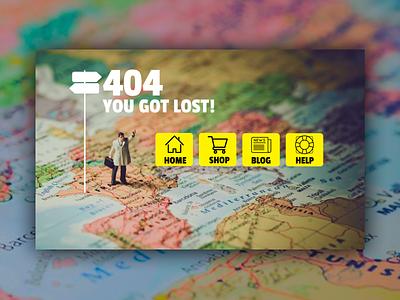 404 - you got lost ecommerce shop figma website design navigation icons menu map 404 error page 404 page ui design ui website