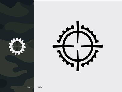 Logo Redesign gun sight technologies modular visor precision white black icon brand redesign mark logo