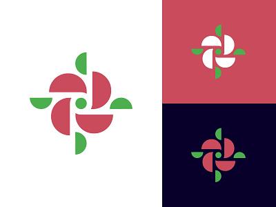 Rose symmetric symbol mark rose icon logo
