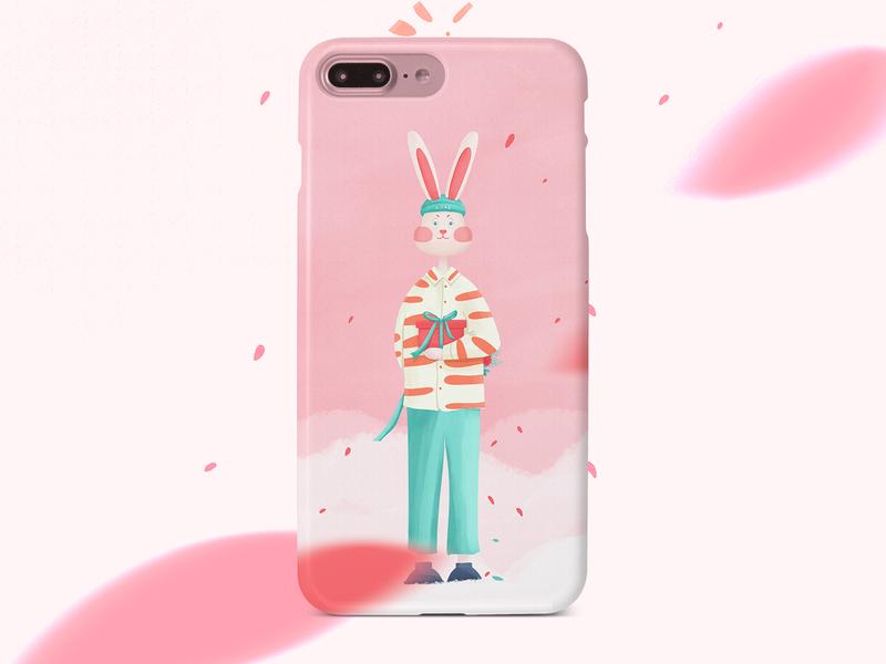 Mr. rabbit's gift gift rabbit design illustraion