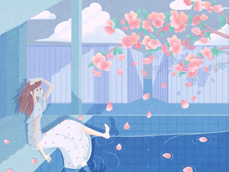 Summer flower blue summer girl design illustraion