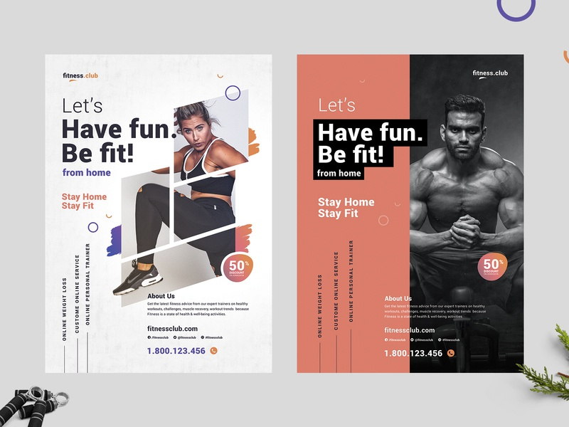 Fitness Online Gym Flyer Template - covid19 psd flyer template yoga stayhome staysafe fitness flyer design cardio health covid-19 covid fitness flyer flyer