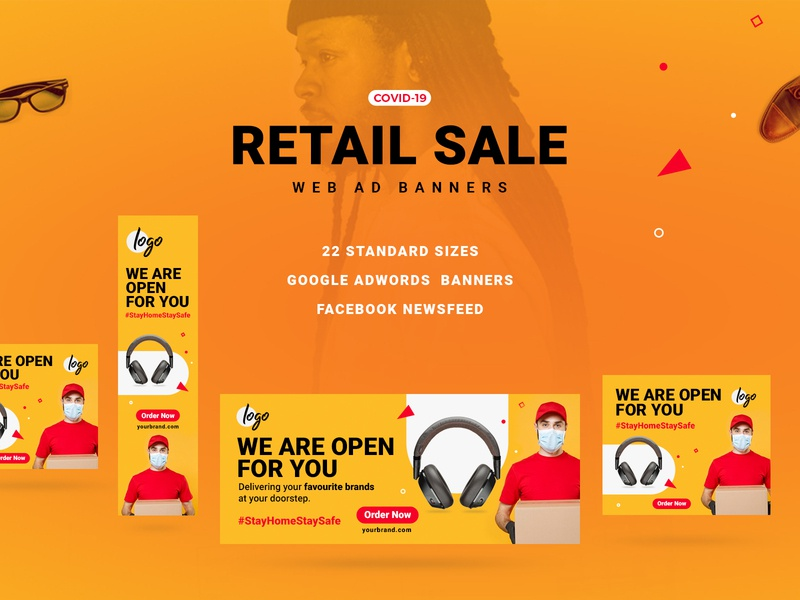 Retail Sale Web Ad Banners retail store headphone google ads delivery staysafe corona marketing web ad banners ecommerce retail