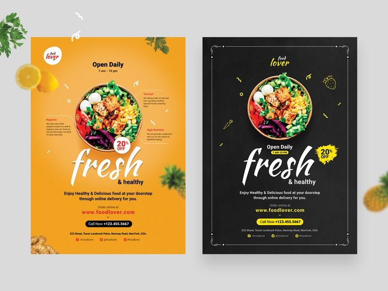 Food Restaurant Flyer delicious spicy graphic template foddie fast food online order poster webdesign graphic design psd template food flyer