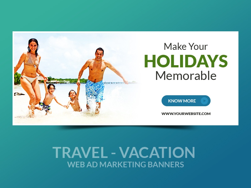 travel vacation web ad marketing banners by webduckdesign