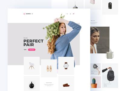 Zorro - Ecommerce PSD Template minimalistic minimal pink template psd store online shop ecommerce design homepage website design uiux landing page website