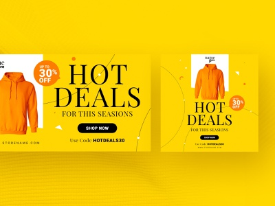 Retail Web Ad Advertising Banner offer discount orange yellow ad banner web banner banners campaign banner marketing online store cloth shop online